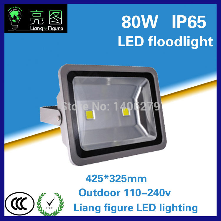 80W Waterproof LED Outdoor Floodlight White/Warm White AC110-240V IP65 LED Spotlight Projector lamp for squre building