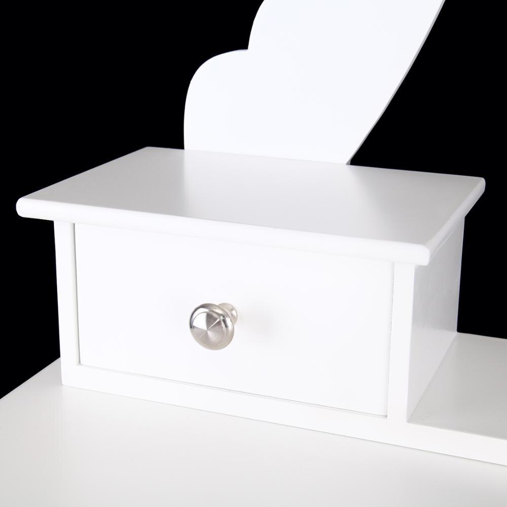 Современный туалетный столик с зеркальным табуретом и 5 ящиками из МДФ - 6