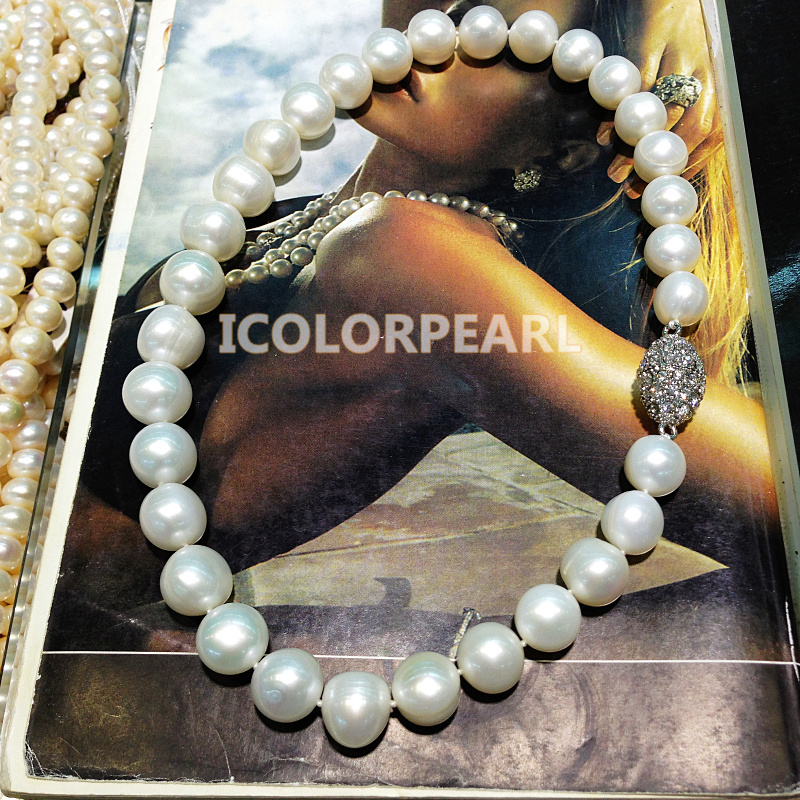 45cmLarge Pearls For Mothers! 11-15mm White/Grey/Mixed Freshwater Pearl Necklace Jewelry With A Nice Crystal Magnet Clasp!