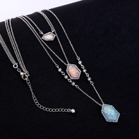 Wholesale 6pcs Set 3 PCS In 1 Modern Mosaic Triple Row Chain Necklace Dramatic Shiny Silver