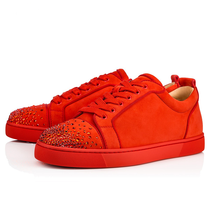 Luxury Brand Rhinestone Mens Loafers Black Red Suede Leather Low Top Lace Up Mens Casual Shoes Runway Trainers Sneakers Flats 46 sexy leopard seude leather mens loafers luxury rivets round toe lace up flats casual shoes trainers ultra boosts tenis feminino