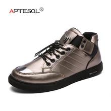 APTESOL Fashion Man Korean Version Vulcanize Shoes Men's Breathable Sneakers Platform Shoes Buckle Strap Casual Shoes Size 39-45