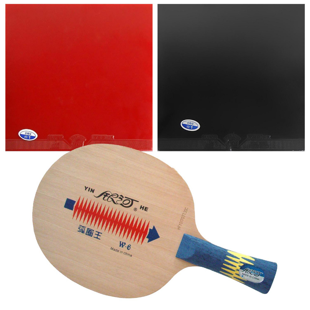 Pro Table Tennis Combo Paddle Racket Galaxy YINHE W-6 Blade with 2x 729 Super FX Rubbers Long Shakehand-FL