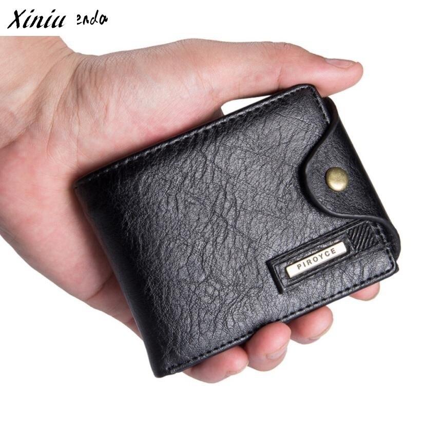 Xiniu Short Men Wallet PU Leather ID Card Holder Billfold Hasp Purse Wallet Business Men Day Clutch  #2714