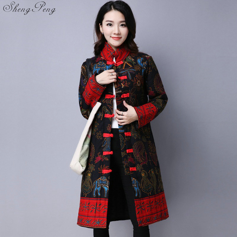 Mid-age Women Winter Long Coat Thick Loose Embroidery Patchwork Female Cardigan Coats Print Plus Size Coats Women V1065