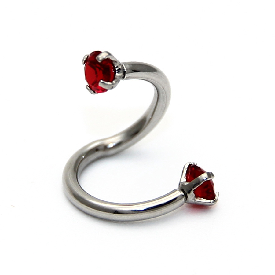 2PCS Stainless Steel S Shaped Fashion Crystal Nose Piercing Twist Eyebrow Lip Ring Nose Ear Stud Body Piercing Jewelry For Women