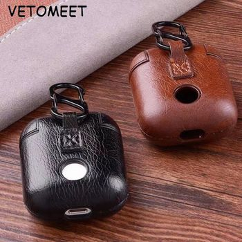 VETOMEET High grade Luxury Genuine Leather Bluetooth Wireless Buckle Earphone Case For Apple Airpods with Buttons Headphone Case