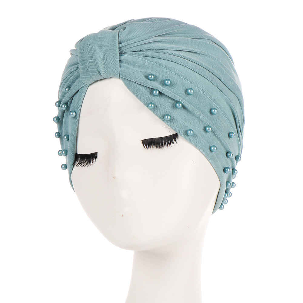 2019 New Fashion Muslim Solid Turbans Headscarf Hat Women Bandanas Crystal Stud Beads India Hat  Hair Accessories