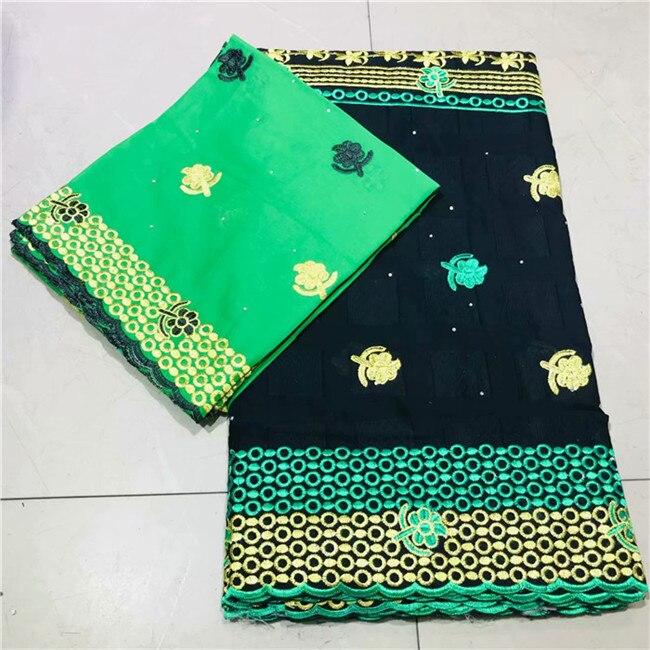 Luxe 5 + 2 mariage/fête africaine broderie coton dentelle tissu avec voile suisse dentelle matériel pour dame robe VRCV2