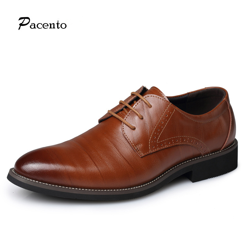 PACENTO New Brand Leather Men Shoes Fashion Genuine Leather Business Casual Mens Shoe Flats Large Size 12.5 13.5 Chaussure Homme