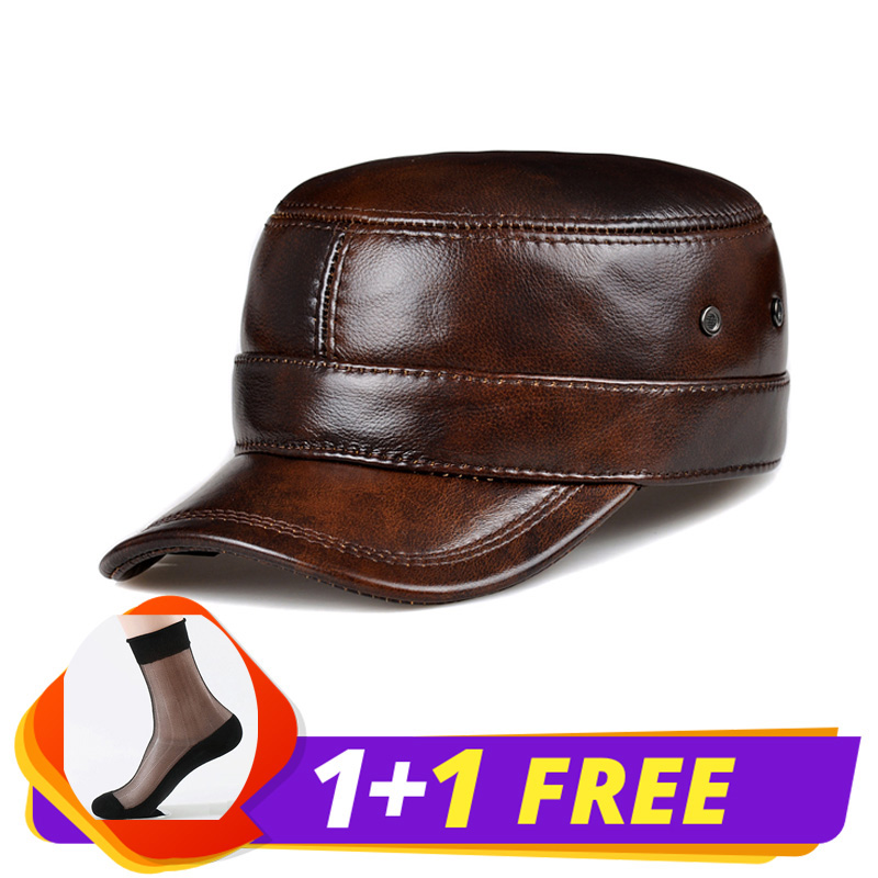 RY0108 Men Spring Winter Genuine Leather Black Brown Flat Baseball Caps Male 54 62 cm Customized