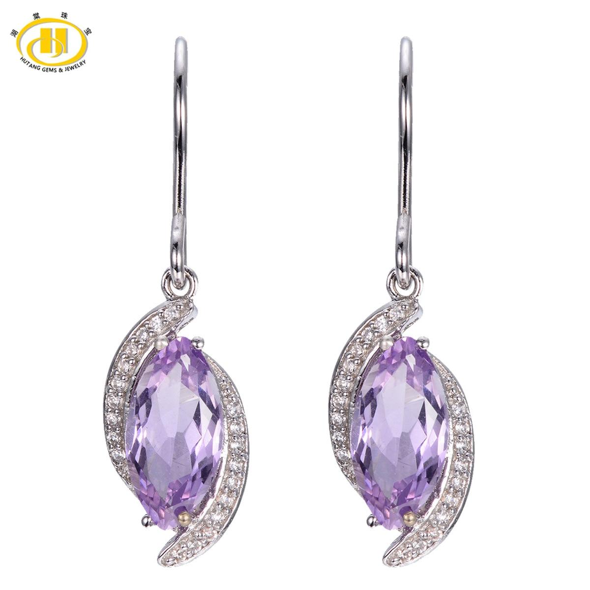 Hutang Genuine Purple Amethyst Dangle Earrings Solid 925 Sterling Silver Marquise cut Gemstone Birthstone Fine Jewelry
