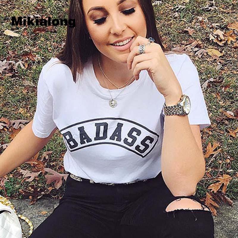 BADASS Lettre Imprimé Femmes T-shirt Tumblr Hippie Femmes 2017 D'été T-Shirt Femme À Manches Courtes Femmes T-shirt Drop Shipping
