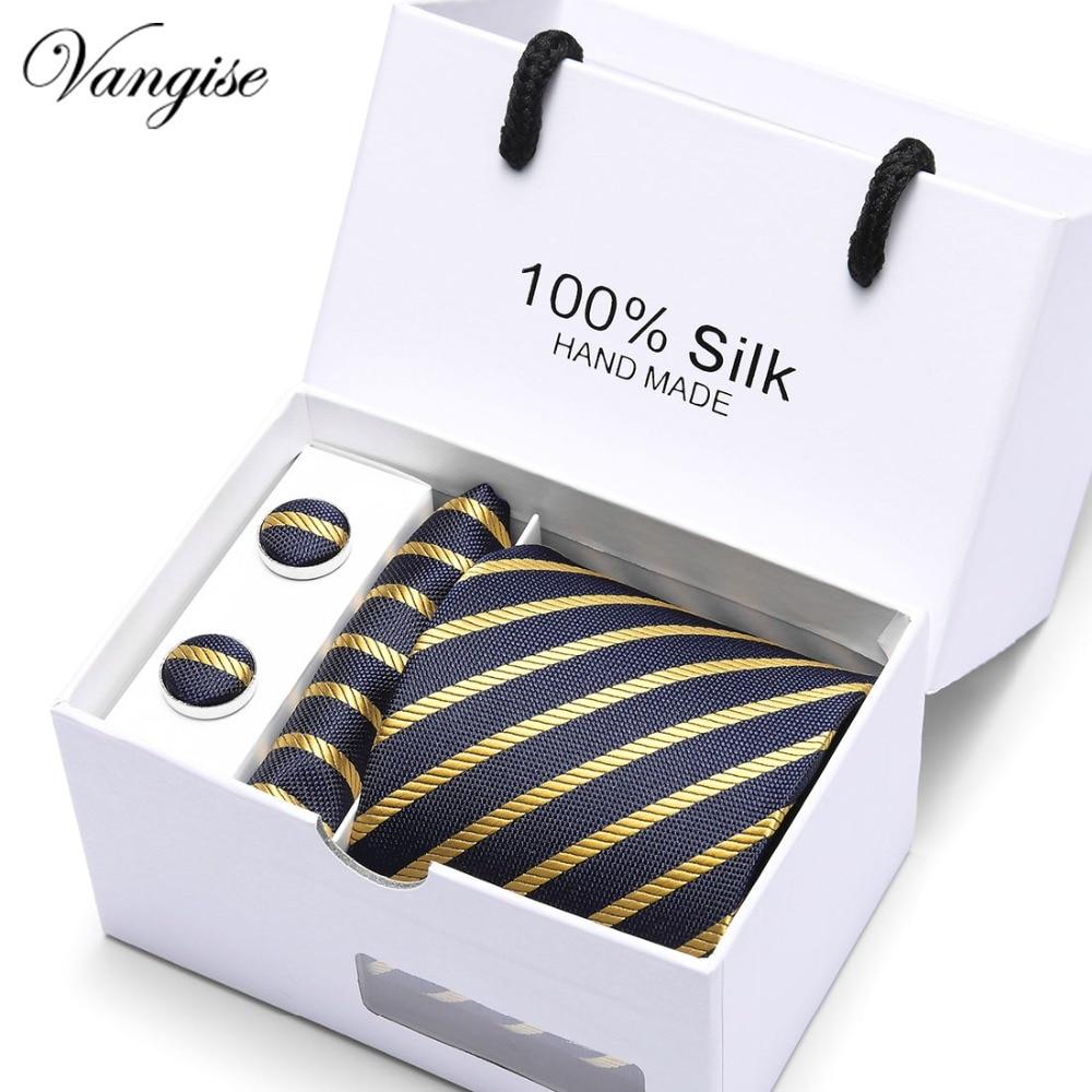 3inch Slim Tie Man Wedding Gold striped Silk Jacquard Men Tie+Handkerchief+ Cufflinks Gift Box Packaging Business