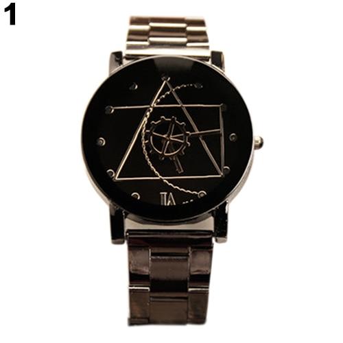 Men's Women's Compass Hands Stainless Steel Band Analog Quartz Couple Wrist Watch