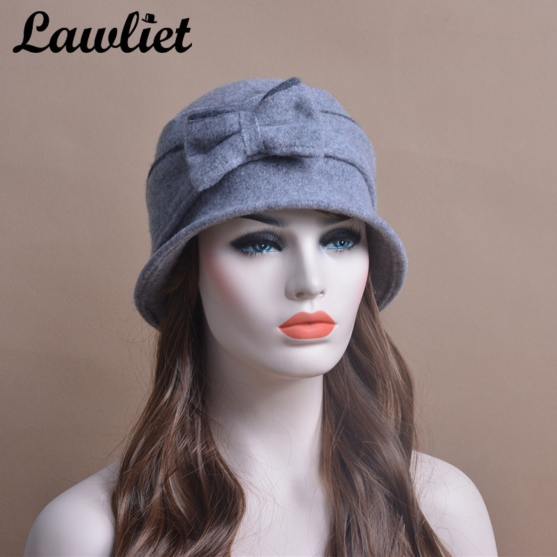 f523629023497 Winter Beanies Cloche Women's Hats Big Bow Wool Cap Elegant Casual Ladies  Hats Skullies Beanies Vintage