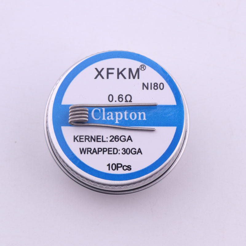 XFKM NI80 Alien Clapton Coil Flat Twisted Fused Clapton Quad Tiger Heating Wire Vape Resistance Premade Coil Prebuilt Coil