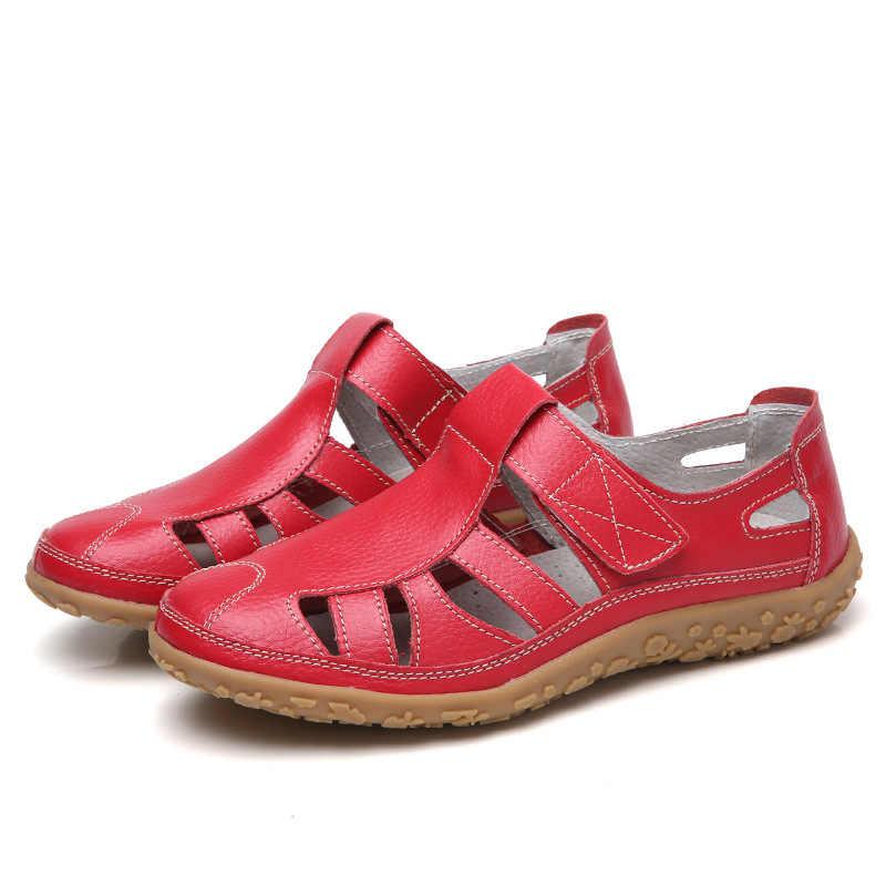 נשים גלדיאטור סנדלי פיצול עור קיץ נעלי אישה שטוחים סנדלי גבירותיי מקרית רך תחתון נשי חוף סנדל