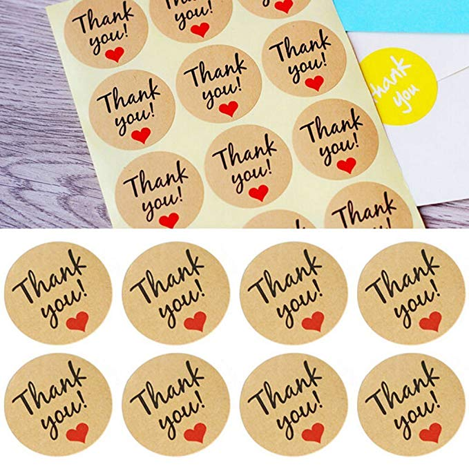 Купить с кэшбэком 300pcs Heart Shape round thank you label stickers seals Label For Gifts student stationery supply Adhesive stickers scrapbooking