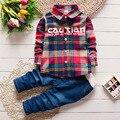 2017 новой детской одежды Весна Фестиваль детские Корейской версии мальчик оборудованы с полосами, письма костюмы младенца + ковбой