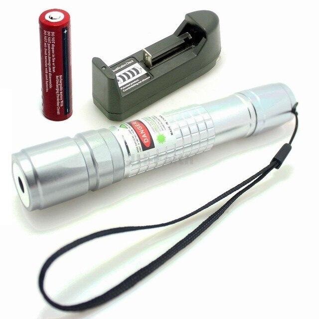 Проверьте Лазерная Серебро 300 МВт Зеленая Лазерная Указка Pen + 18650 3000 мАч Аккумулятор + Зарядное Устройство
