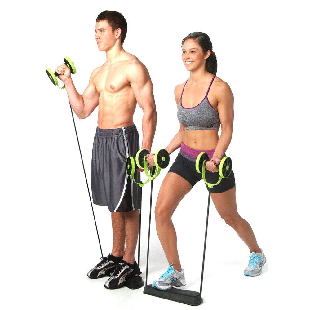 HWFitness Body Building Abdominal Train Fitness Strength Resistance Power Lifting Pull 2 Wheels 2016 New Hot Health Care