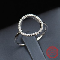 Classic Fashion Hollow Out Hoop Sparkling White And Rose Ring Cubic Zirconia Jewelry Real Solid 925