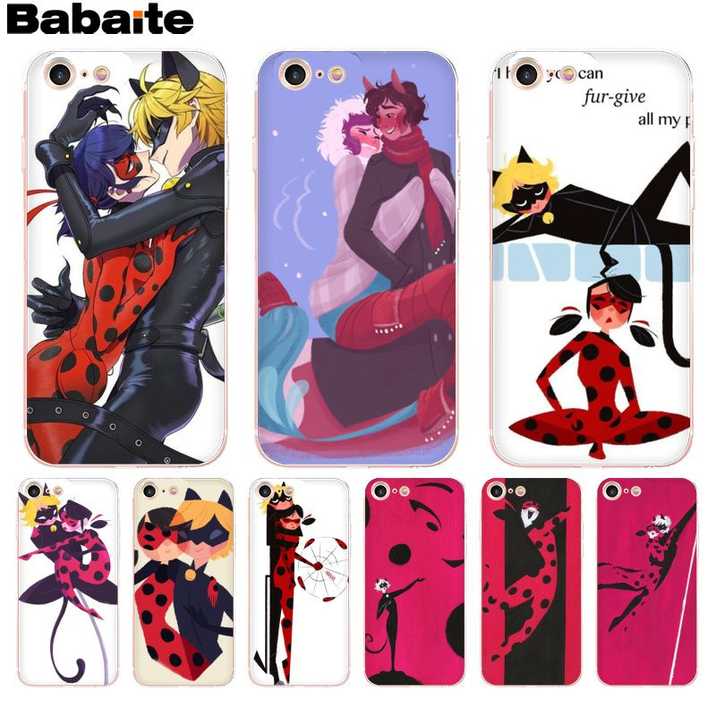 online retailer c9202 62038 US $0.86 33% OFF|Babaite Ladybug Tales of Ladybug Cat Noir phone case for  iPhone 8 7 6 6S Plus X XS max 10 5 5S SE XR-in Half-wrapped Cases from ...