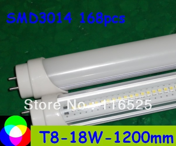 factory price 18W T8 LED Tube 1200mm Light 18W SMD3014 168pcs Warm White/Cool White 1800lm PC Cover Free shipping 100pcs