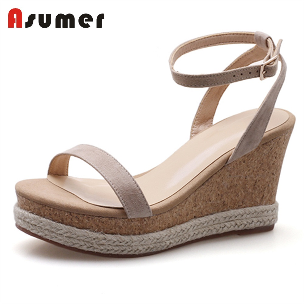 ASUMER Sandals Party-Shoes Wedges Platform Ankle-Buckle Casual Women New Sweet Suede