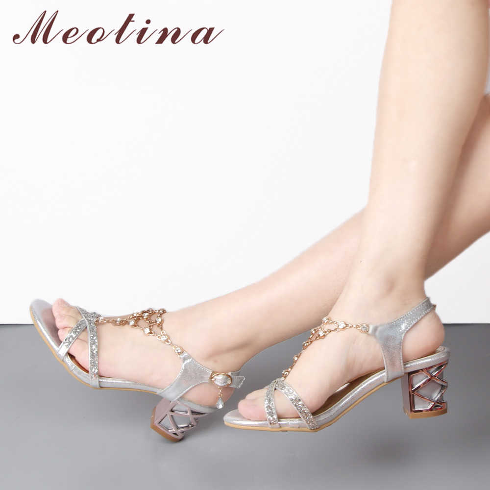 d4615e73a Meotina Party Women Shoes Fashion Crystal Ladies Sandals Summer Open Toe  T-Strap Party Thick