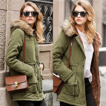 Women Army Green Coat 2017 New Winter Solid Loose Basic Jacket Thick Warm Hooded Coat Fur Collar Clothing Female Casual Overcoat