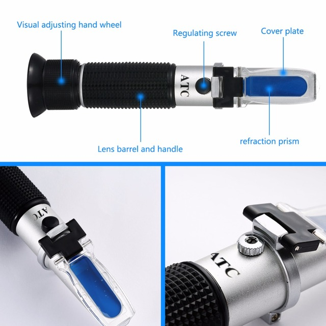 Brewing refractometer 0-32 Dual Scale – Specific Gravity 1.000-1.120 and 0-32% Brix RSG-32ATC Beer Wort and Wine Refractometer
