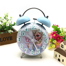 Disney Frozen Elsa Ann Alarm Clock Princess Sofia KT New 3d Convex Cartoon Boy Girl Student Bedside Bell Alarm Clock Night Light