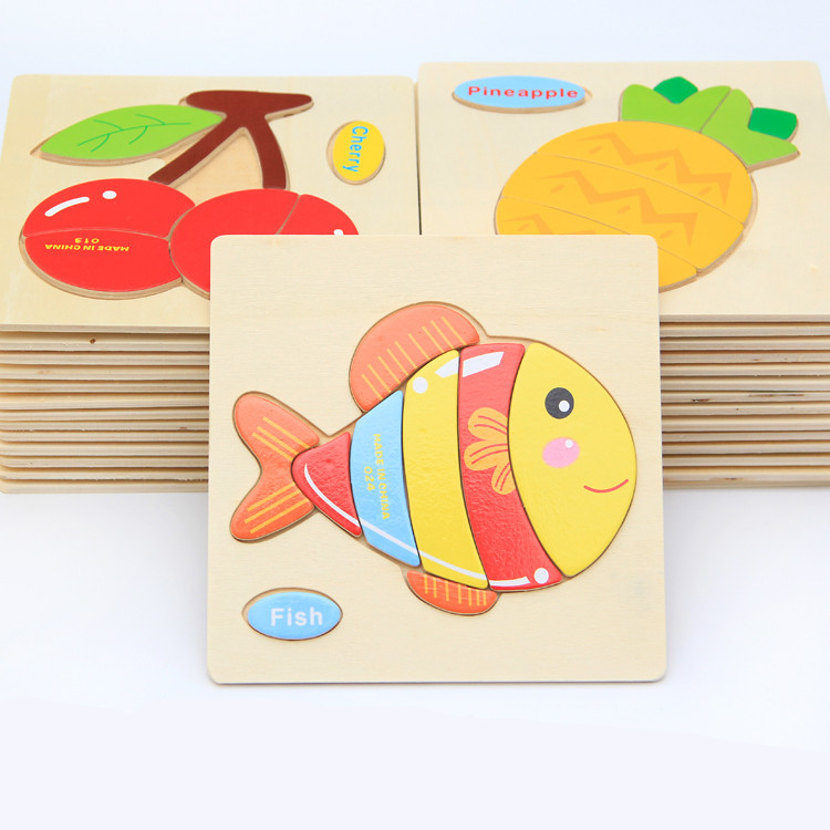 Children Cartoon Animal 3D Puzzle Wooden Toys Educational for Kids Brain Teaser Problem Learning