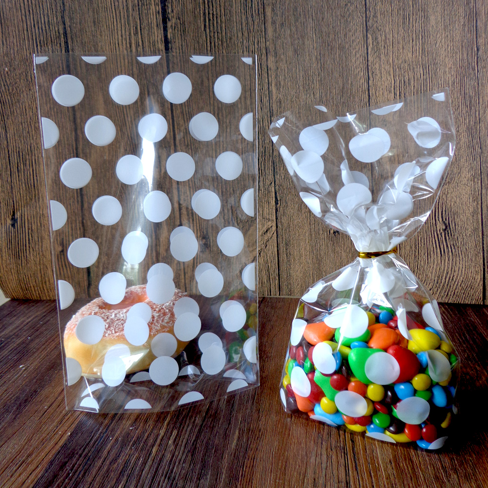 Hot 50pcs White Polka Dots Party Transparent Cookies Bags - Cellophane Bag - Candy Bags 21X13x4cm Open Top