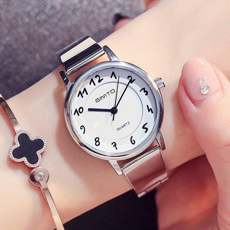 845104480ab ... Marca as Mulheres Relógios de Luxo Gimto se Vestem de Aço Relógio  Quartzo Senhoras Relógios Menina Pulseira Pulso Feminino ...