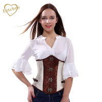 Corset Underbust Steampunk Women's Brocade Waist Trainer Retro Brocade Spiralkorsett for Women Steel Boned Underbust Corset