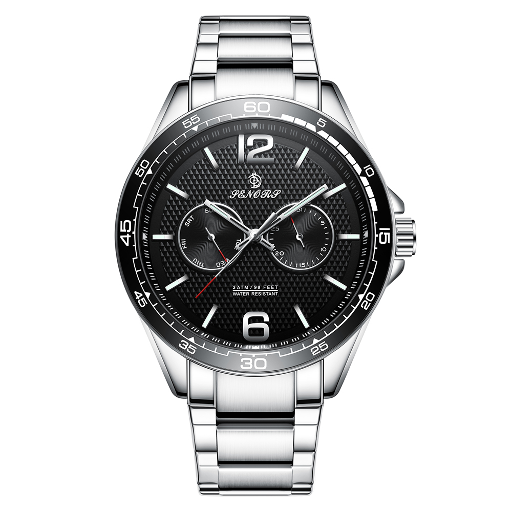 Multifunctional Quartz Watches Men Luxury Brand Waterproof 3 Bar Quartz Watch Wrist Watch Man Senors sn098 senors серебряный