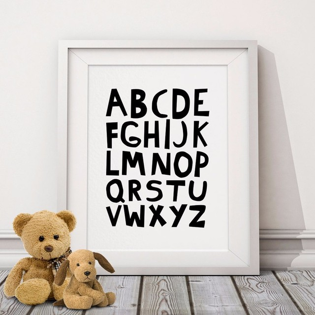Alphabets Typography Poster Kids Nursery Print Art Wall Picture Cool Canvas Prints For Baby Room