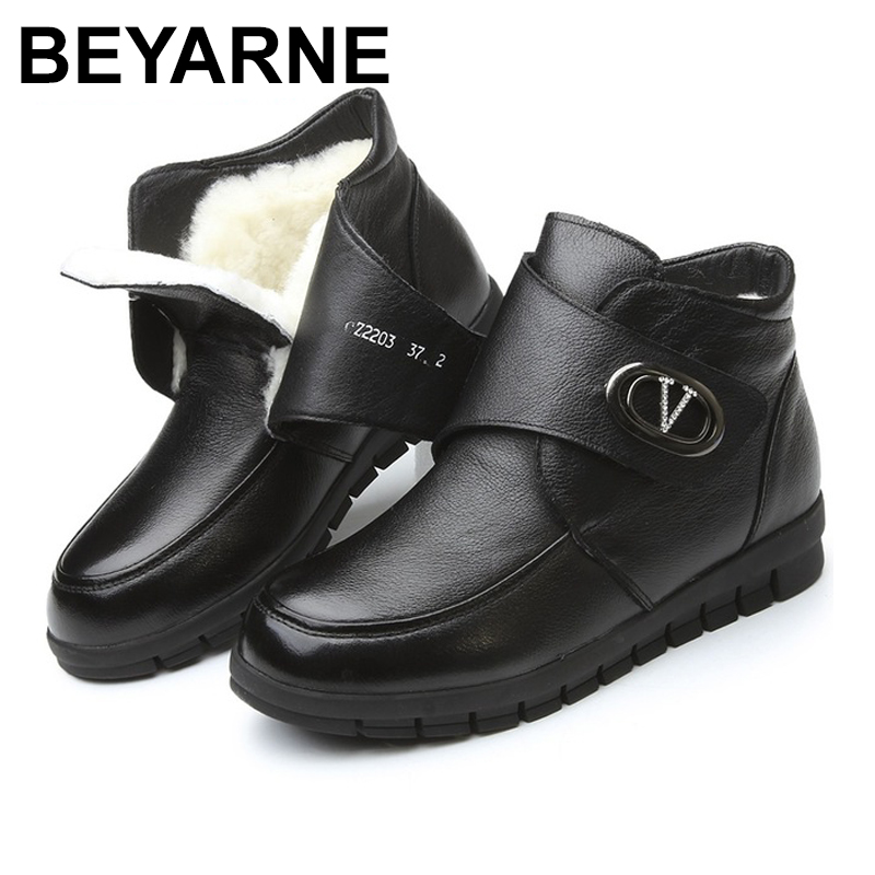 BEYARNE Women Boots Winter New Fashion Female Wool Warm Snow Boots Woman Genuine Leather Flat Ankle Boots Women Plus Size Shoes cocoafoal women s wool snow boots woman ankle boots silvery winter snow boots flat with platform wool snow boots genuine leather