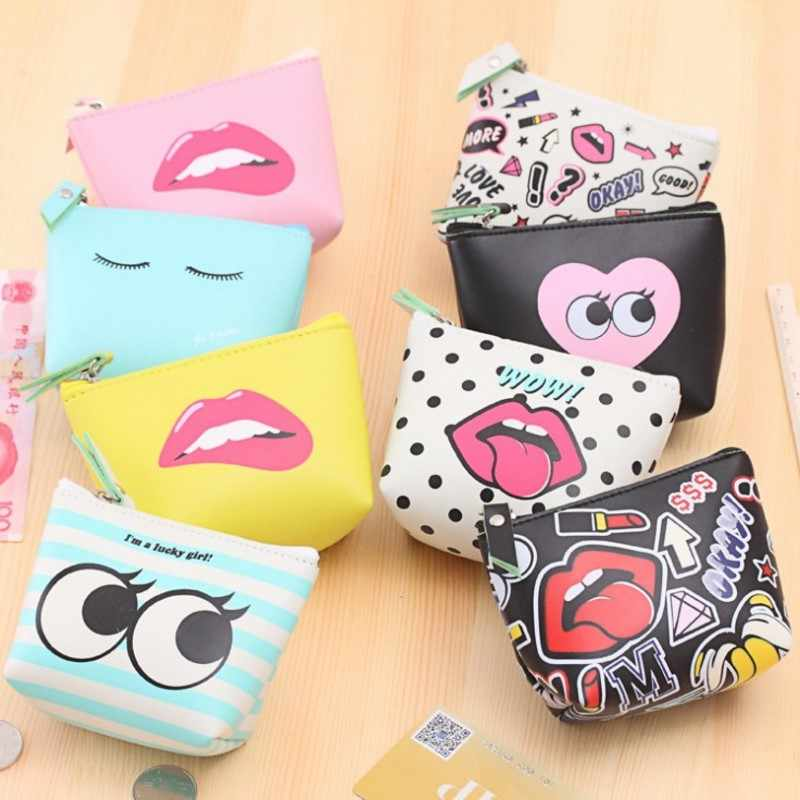 Summer New Brand Leather Coin Purses Small Fresh Casual Pu Coin Wallet Lady Fashion Cute Pattern Cartoon Dollar Money Bag 2019