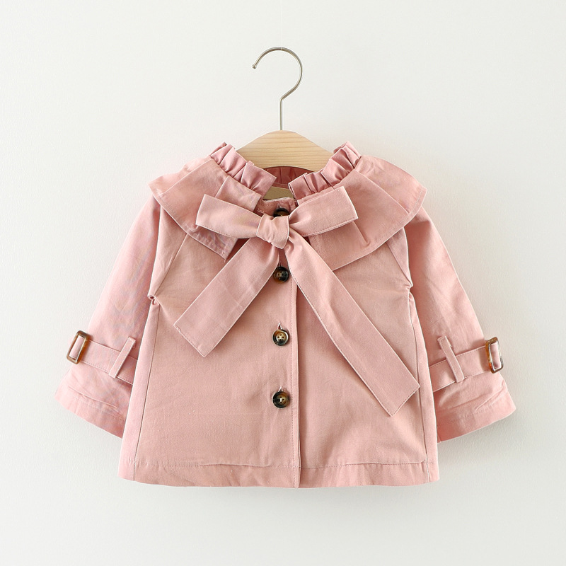 Autumn Baby Girls Solid Long Sleeve Lapel Collar Princess Bow Jacket Coat Children Kids Outerwear Trench casaco infantil menina