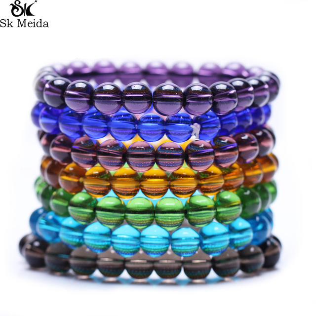 Colorful Glass Beads Transparent Beads Bracelet For Women & Man Fashion Simple C