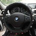 Diamante negro de Cuero cubierta del volante del coche accesorios interiores para las niñas 36 cm/38 cm/39 cm para BMW Opel toyota KIA Renualt