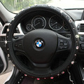 Diamantes negros de Couro tampa da roda de direcção do carro acessórios interiores para meninas 36 cm/38 cm/39 cm para BMW Opel toyota KIA Renualt