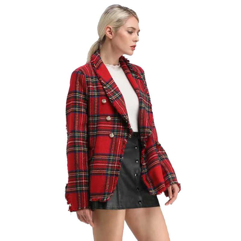 f2016faf2aa7c1 New Red Plaid Blazer for Womens 2018 Winter Chic Tweed Blazers Feminino  Jackets Women Vintage Tassel
