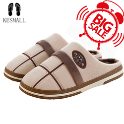 KESMALL Size 49 Men Indoor Slippers Winter Plus-Size Men Shoes  Cotton Soft  Fur Slippers Anti-Slip Home Warm Mules WS280