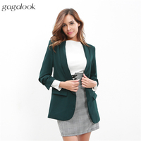 Gagalook 2017 Autumn Suit Blazer Women Roll Sleeves Design Long Suit Jacket Green Ladies Blazers Female