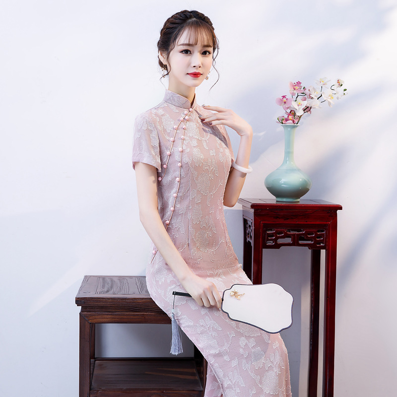 New Arrival Cut Flowers Qipao Long High Split Lace Cheongsam Dress Women's Chinese Traditional Dress Size M L XL XXL 3XL 4XL
